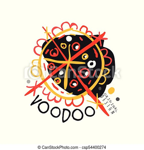 Original abstract colorful Voodoo magic logo template design  Traditional  religion and culture  Hand drawn mystical vector illustration