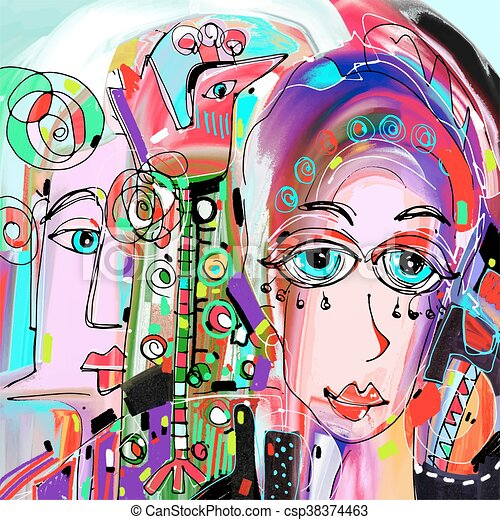 original abstract digital painting of human face, colorful compo - csp38374463