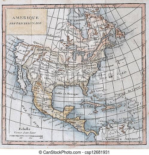 North America Map 1750.Original Antique North America Map 1750 Hand Colored Map By Vaugondy