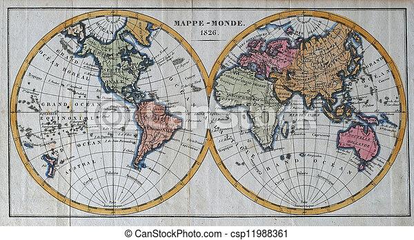 original antique world map - csp11988361