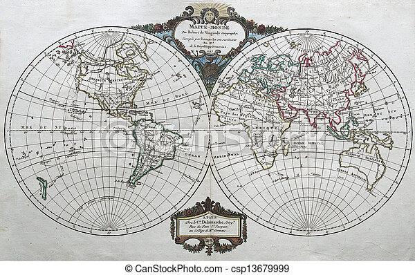 original antique world map - csp13679999