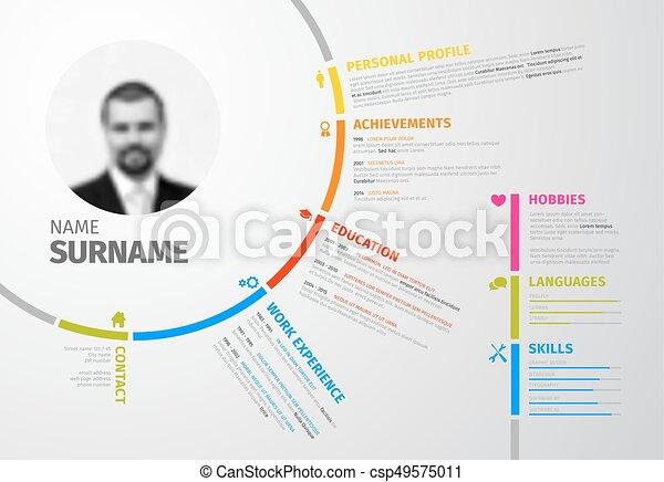 original circular resume template vector original minimalist cv