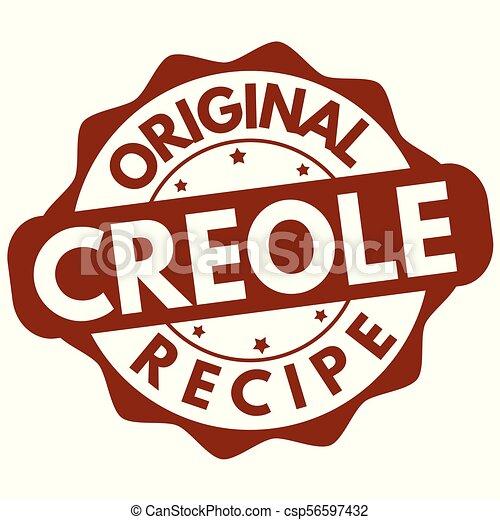 Original creole recipe label or stamp - csp56597432