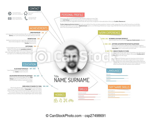 Original cv / resume template. Vector original minimalist cv ...
