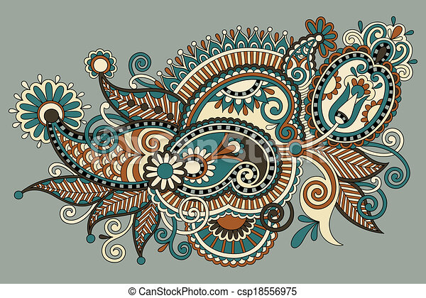 Traditional Flower Line Drawing : Original digital draw line art ornate flower design . vectors
