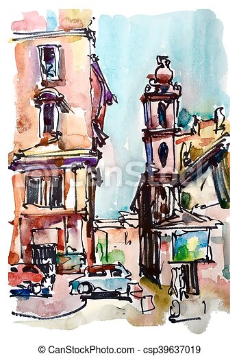 original freehand sketch watercolor painting of Rome Italy lands - csp39637019