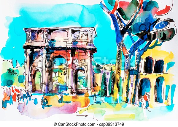 original freehand watercolor travel card from Rome Italy - csp39313749