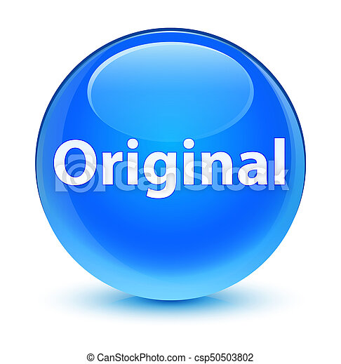 Original glassy cyan blue round button - csp50503802