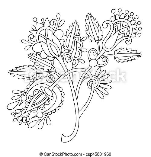 original hand draw line art ornate flower design. Ukrainian trad - csp45801960