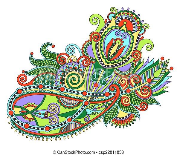 original hand draw line art ornate flower design. Ukrainian trad - csp22811853