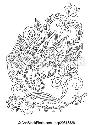 original hand draw line art ornate flower design. Ukrainian trad - csp20515828