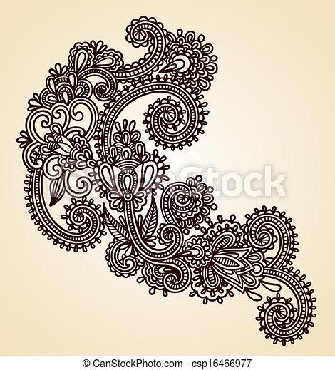 original hand draw line art ornate flower design - csp16466977