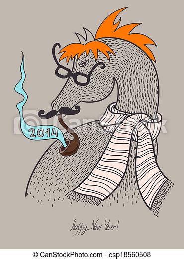 Original hipster horse in glasses, mustache, smoking tube ...