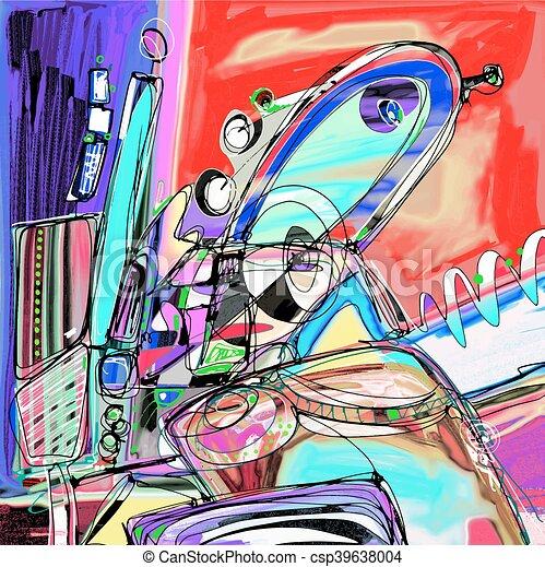 original illustration of abstract art digital painting - csp39638004