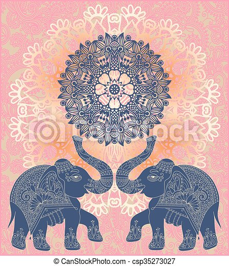 original indian pattern with two elephants for invitation - csp35273027