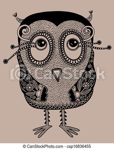 original modern cute ornate doodle fantasy owl - csp16836455