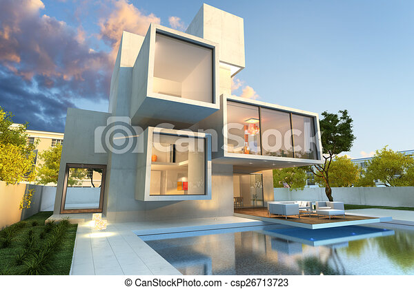Original Modern Mansion 3d Rendering Of Impressive Villa With Pool