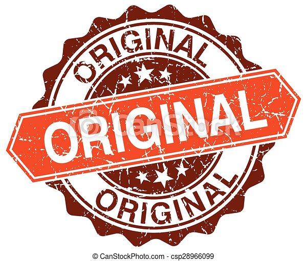 original orange round grunge stamp on white - csp28966099