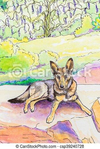Graphic Paint Art German Sheperd
