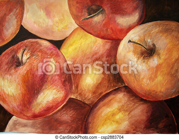 Original Painting Of Apples Stock Illustration