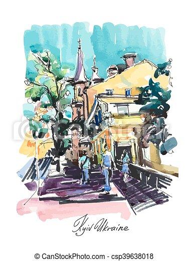 original sketch drawing of Zoloti Vorota place in Kyiv Ukraine - csp39638018