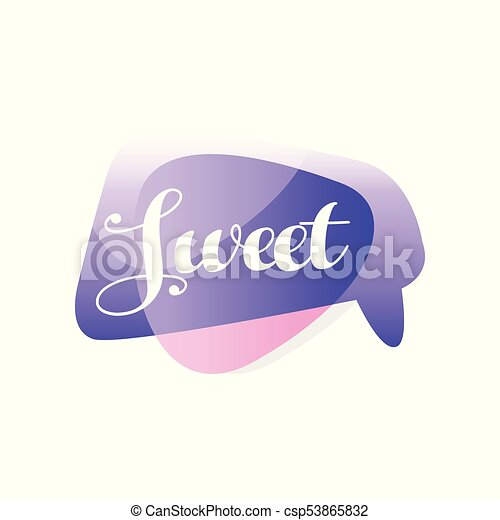 Original speech bubble in purple and pink color with message Sweet   Short  message  Vector design for mobile app, chat or online communication sticker