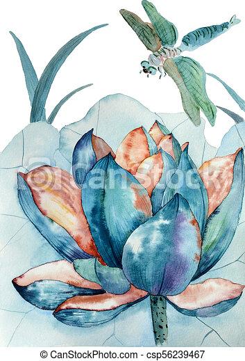 Original Watercolor Painting Of Blue Lotus And Dragonfly Original