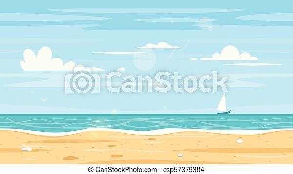 59a286bab527f Orilla, mar, seamless, paisaje. Estilo, bueno, island., animation ...
