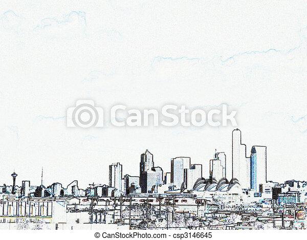 orizzonte, architectual, w, concettuale, seattle, sud, vista - csp3146645