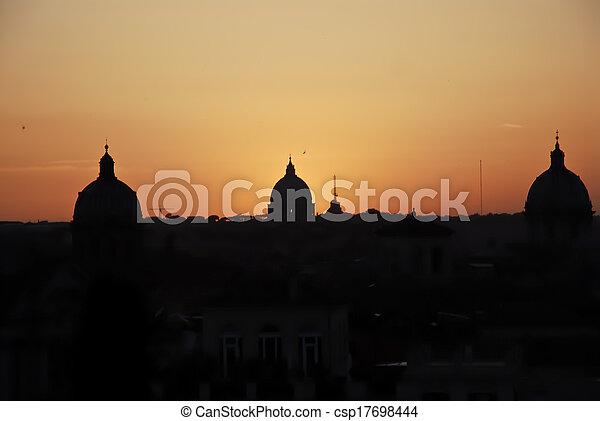 orizzonte, roma, notte - csp17698444