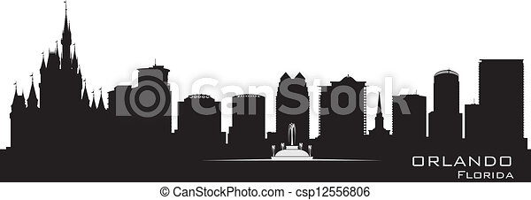 Orlando, Florida skyline. Detailed city silhouette - csp12556806