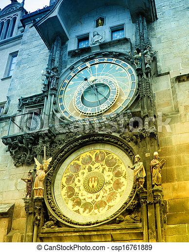 Orloj astronomical clock in Prague in Czech Republic - csp16761889