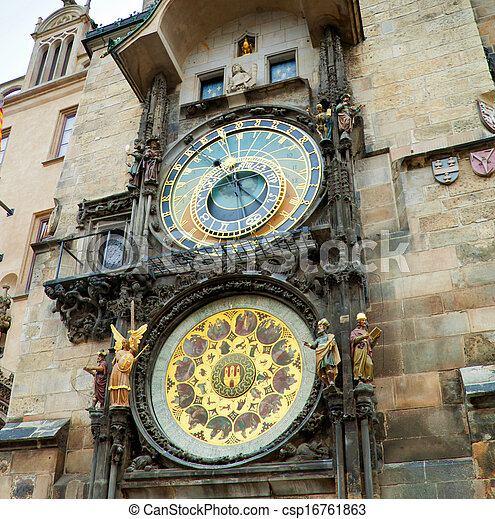 Orloj astronomical clock in Prague in Czech Republic - csp16761863