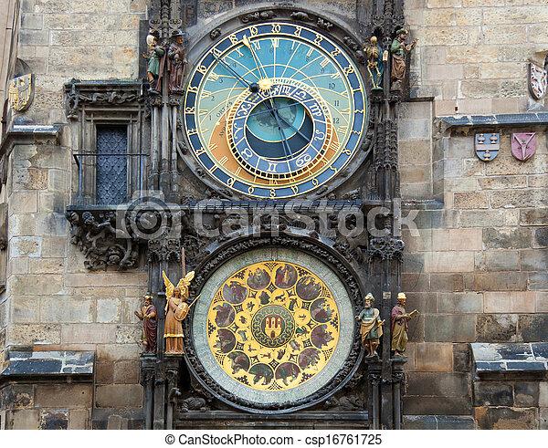 Orloj astronomical clock in Prague in Czech Republic - csp16761725