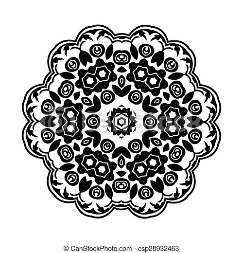 Ornament black white card with mandala csp28932463