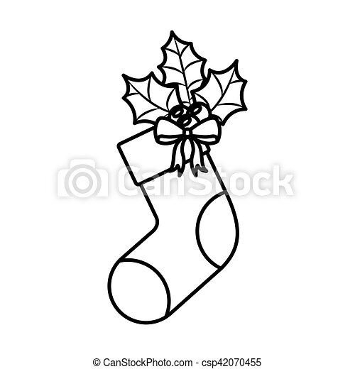 Christmas Boots Drawing.Ornament Christmas Boots With Leaves