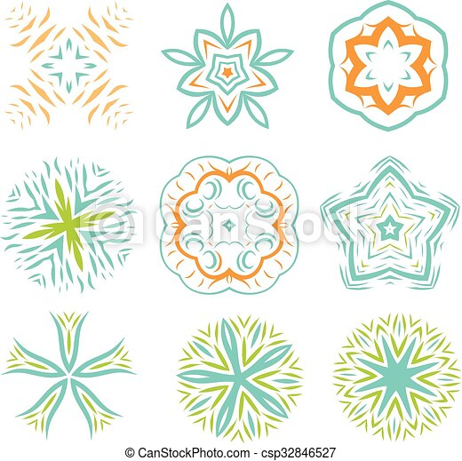 Ornament line art design colorful set - csp32846527