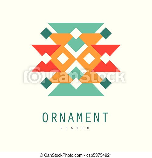 Ornament logo design, colorful template for label, badge, ornate pattern  with geometric shapes vector Illustration