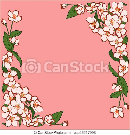 Ornament of pink apple flowers - csp26217998