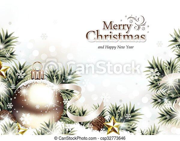 ornament, sneeuw, kerstmis - csp32773646