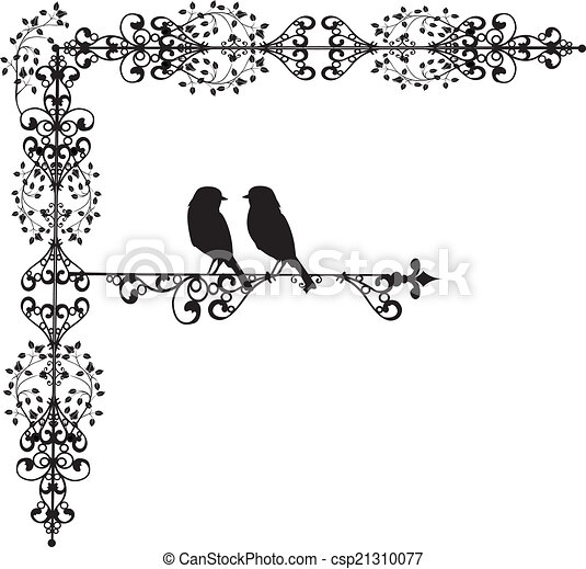 ornament vectors two bird in love - csp21310077