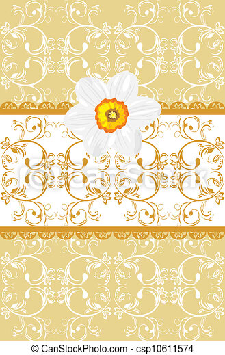 Ornamental background with daffodil - csp10611574