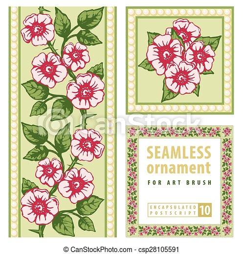 ornamental, blommig, skapande, element, etc., kanter, inramar - csp28105591