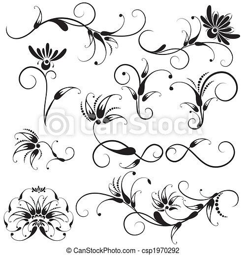 ornamental, blomstrede elementer, konstruktion - csp1970292