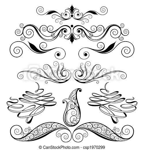 ornamental, blomstrede elementer, konstruktion - csp1970299
