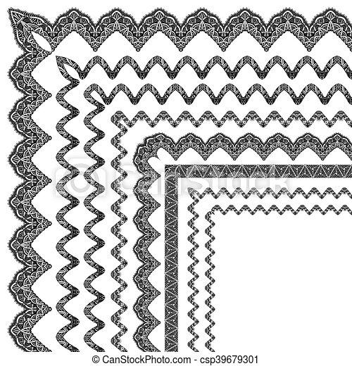 ornamental border with corner - csp39679301