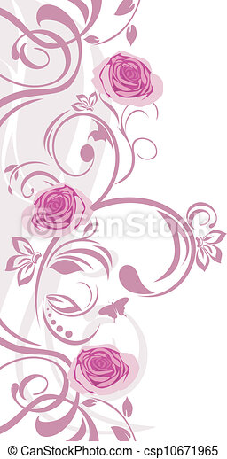 Ornamental border with pink roses - csp10671965