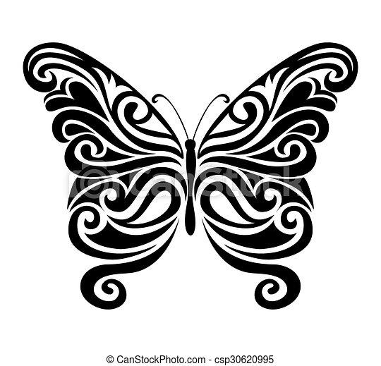 Ornamental Butterfly Silhouette Decorative Ornamental Butterfly