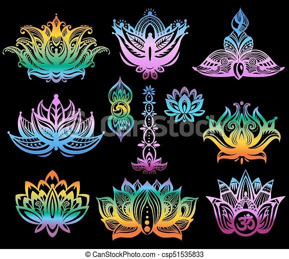 Set Of Ornamental Color Lotus Flowers On Black