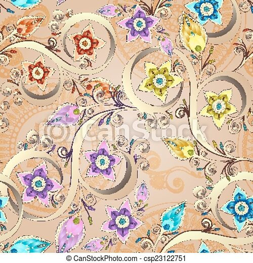 Ornamental colored floral pattern with flowers, doodles and paisley. Seamless vector background. - csp23122751